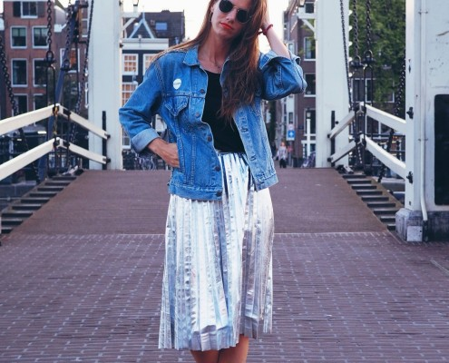 outfit: metallic rok